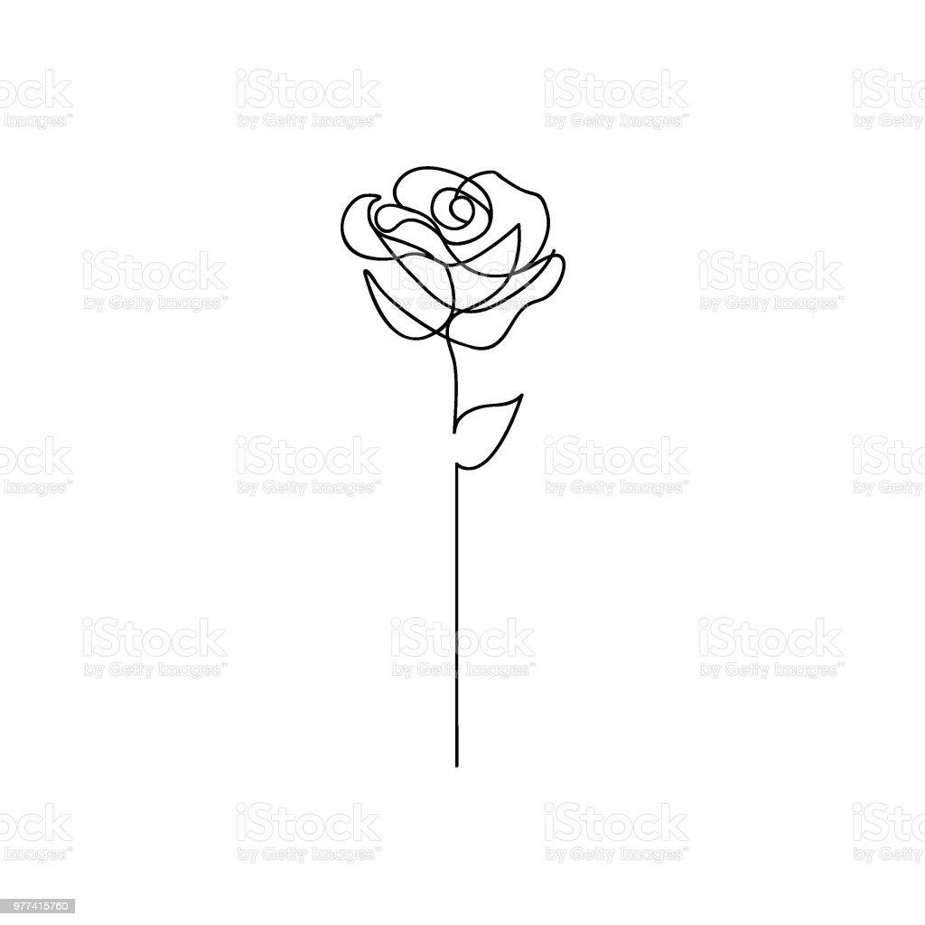 One line rose design. Hand drawn minimalism style vector art illustration
