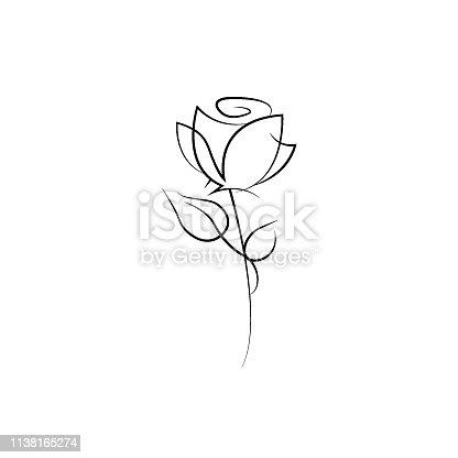 One line rose design. Hand drawn minimalism style vector