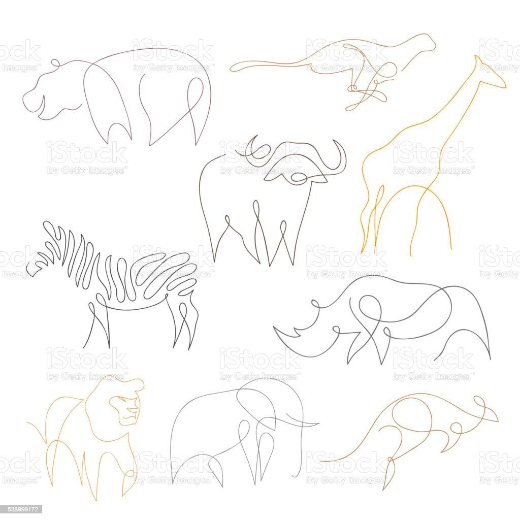One line safari animals set hand drawn vector illustration royalty free one line safari