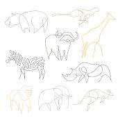 One line safari animals set design silhouette. Hand drawn minimalism style vector illustration