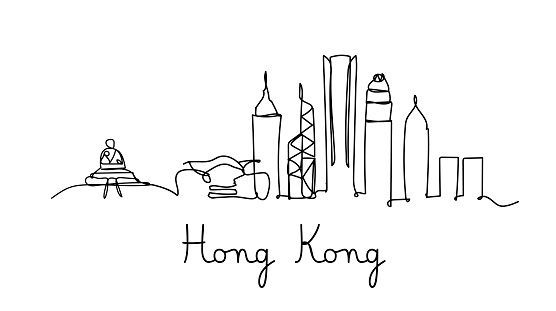 One line style Hong kong city skyline - Simple modern minimalistic style vector