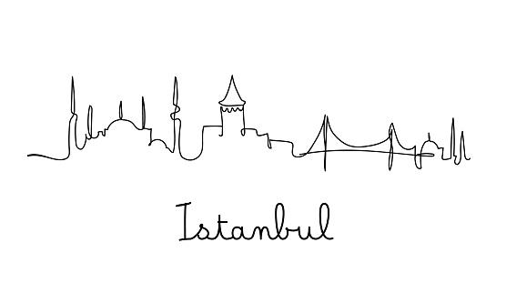 One line style Istanbul city skyline - Simple modern minimalistic style vector