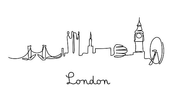 One line style London city skyline.