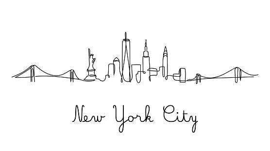 One line style New York City skyline - Simple modern minimalistic style vector.