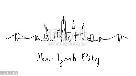 One line style New York City skyline - Simple modern minimalistic style vector