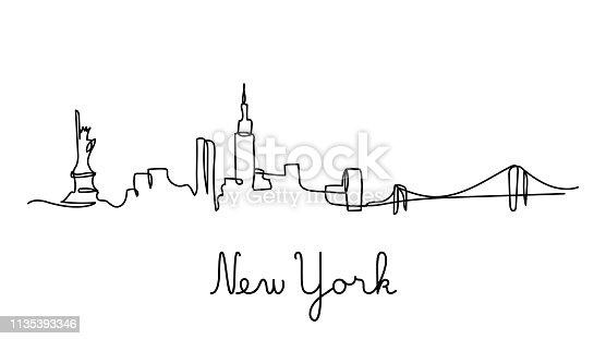 istock One line style New York city skyline. 1135393346