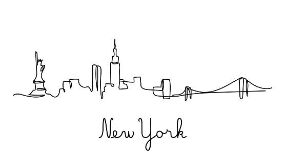 One line style New York city skyline.