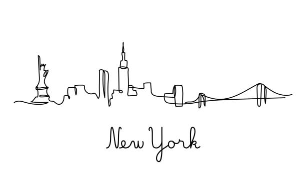 stockillustraties, clipart, cartoons en iconen met een lijnstijl new york city skyline. - skyline