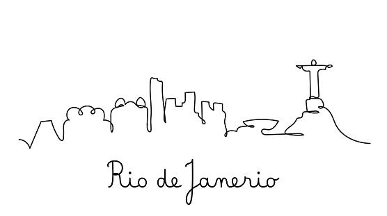 One line style Rio de Janerio city skyline. Simple modern minimalistic style vector.