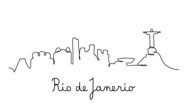 ilustrações de stock, clip art, desenhos animados e ícones de one line style rio de janerio city skyline. simple modern minimalistic style vector. - rio de janeiro