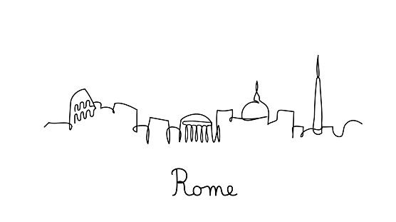 One line style Rome city skyline -  Simple modern minimalistic style vector