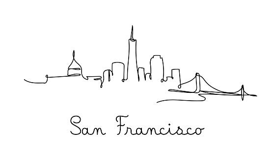 One line style San Francisco city skyline - Simple modern minimalistic style vector.