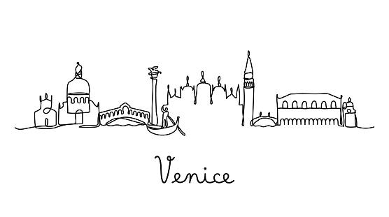 One line style Venice city skyline - Simple modern minimalistic style vector.
