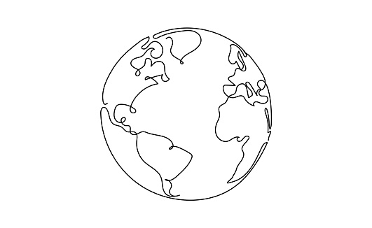 One line style world - Simple modern minimaistic style vector