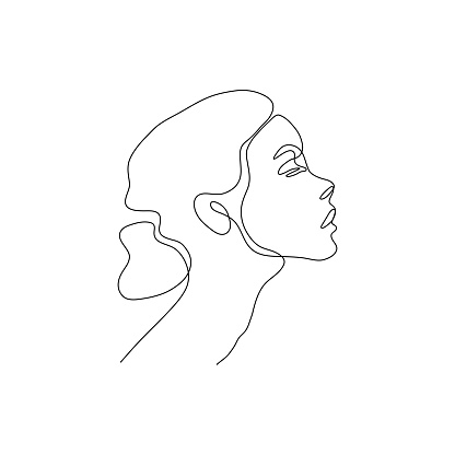 One line woman head design silhouette.Hand drawn minimalism style vector illustration