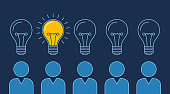 One lit bulb among unlit bulbs above persons, New idea business illustration