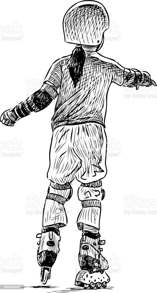 One little girl rides the roller skates vector art illustration