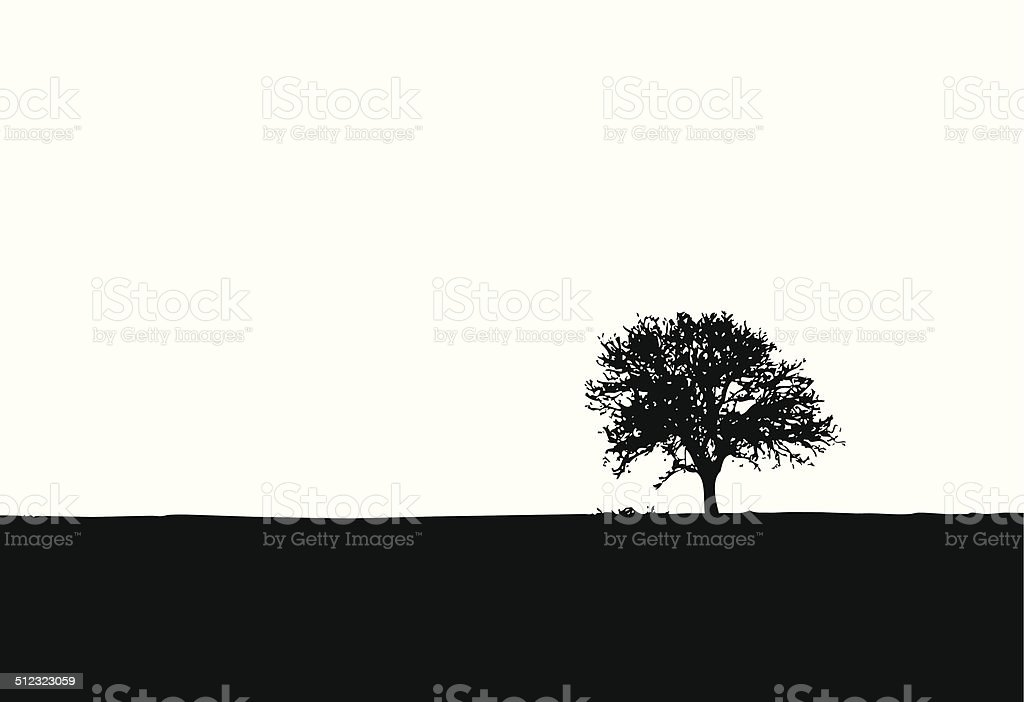 One lonely tree vector silhouette vector art illustration