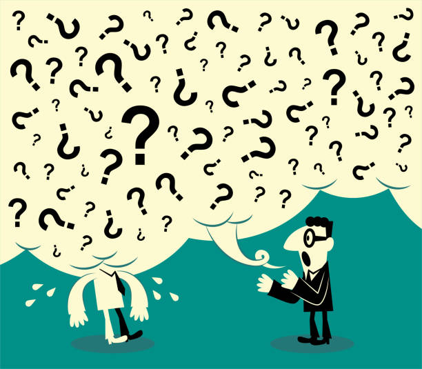 One man asks a lot of questions and another man can not stand it; One man can not understand what another man said vector art illustration
