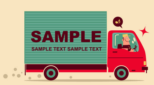 One man in uniform is driving a delivery truck vector art illustration