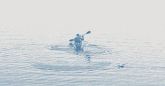 One man Kayaking and paddling on a Lake