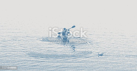 One man Kayaking and paddling on a Lake and duck