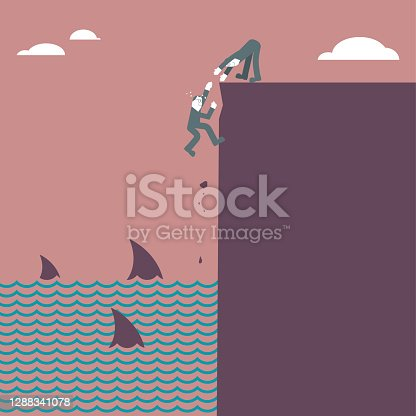 istock One man nearly fell off the cliff. There were many sharks under the cliff. Another man was rescuing. 1288341078