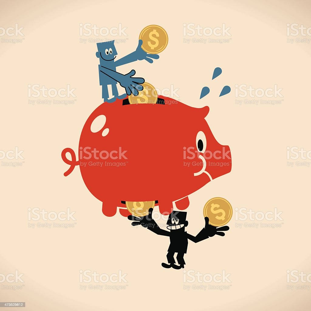 One man putting coins in piggy bank, thief steal money vector art illustration