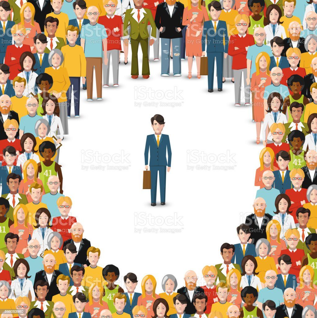 One man stayed in crowd, conceptual illustration vector art illustration