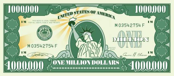 one million dollar currency - dollar bill stock illustrations