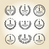 Vector illustration of 1 million view emblem design emblem template set. EPS Ai 10 file format.