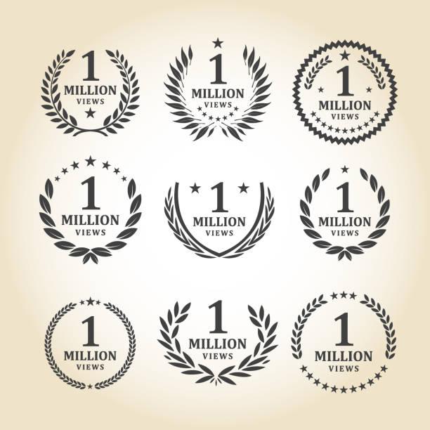 One Million Views Emblem set Vector illustration of 1 million view emblem design emblem template set. EPS Ai 10 file format. anniversary icons stock illustrations