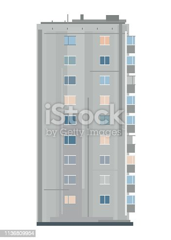 One nine-story eastern european building in side view isolated, old soviet building architecture flat style