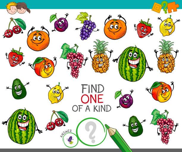 illustrazioni stock, clip art, cartoni animati e icone di tendenza di one of a kind activity with fruit characters - pesche bambino
