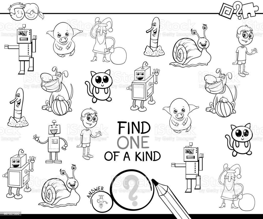 Bir Tür çizgi Film Oyun Boyama Kitabı Stok Vektör Sanatı Anaokulu