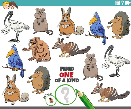 one of a kind game for children with funny cartoon animals