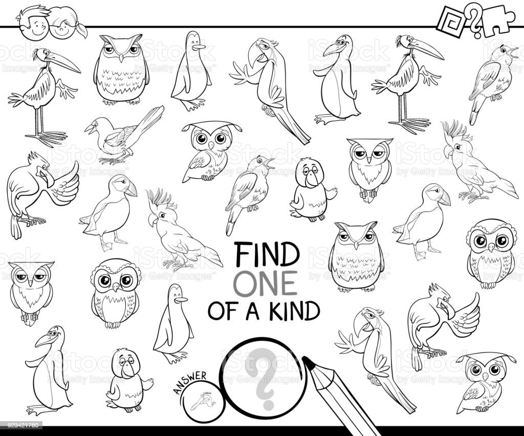 One Of A Kind Game With Birds Coloring Book Stock Vector Art & More ...
