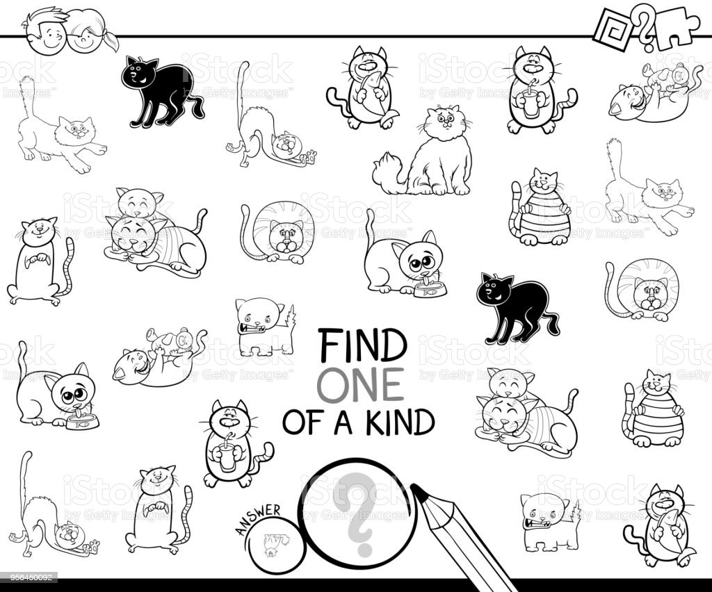 One Of A Kind Game With Cat Coloring Book Royalty Free