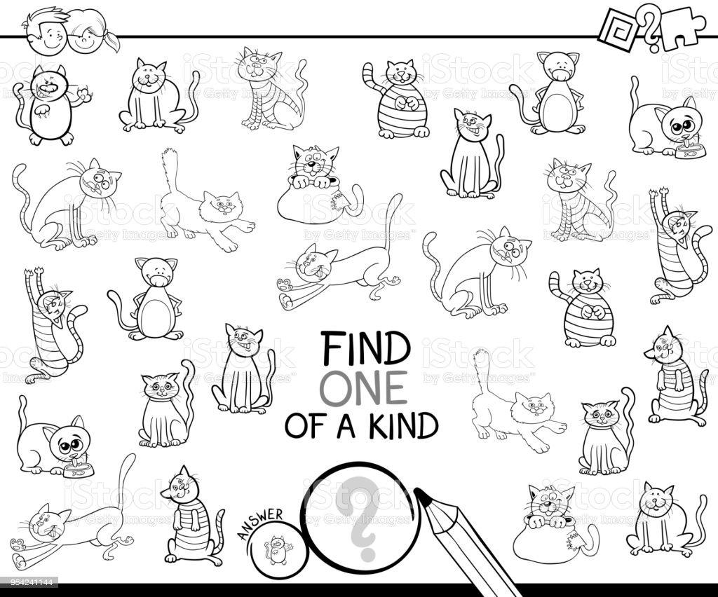 Ilustración de Uno De Un Bueno Juego Con Gatos Para Colorear Libro y ...