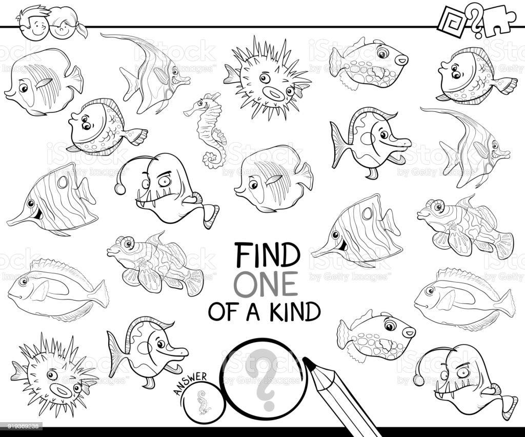 Bir Tür Oyun Balık Boyama Kitabı Stok Vektör Sanatı Anaokulunin