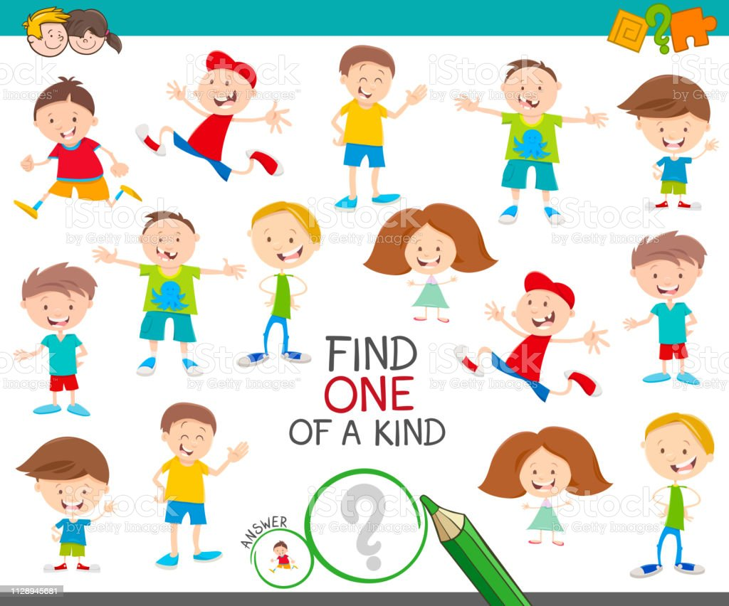 Cartoon Illustration of Find One of a Kind Picture Educational...