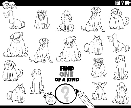 one of a kind game with pedigree dogs coloring book page