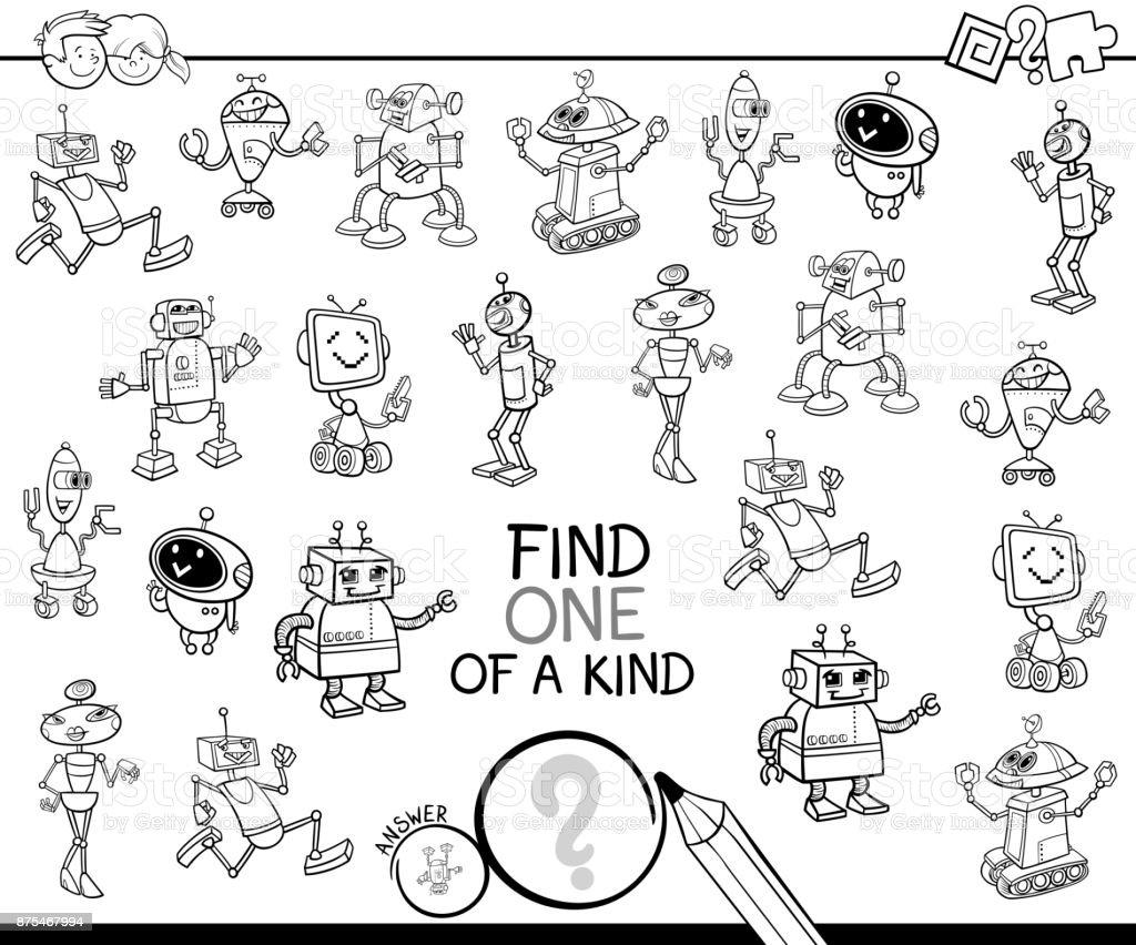 Bir Tür Oyun Boyama Kitabı Robotlar Ile Stok Vektör Sanatı 1