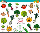 Cartoon Illustration of Find One of a Kind Educational Activity Game for Children with Vegetables Comic Characters