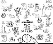Black and White Cartoon Illustration of Find One of a Kind Picture Educational Activity Game for Children with Halloween Characters Coloring Book