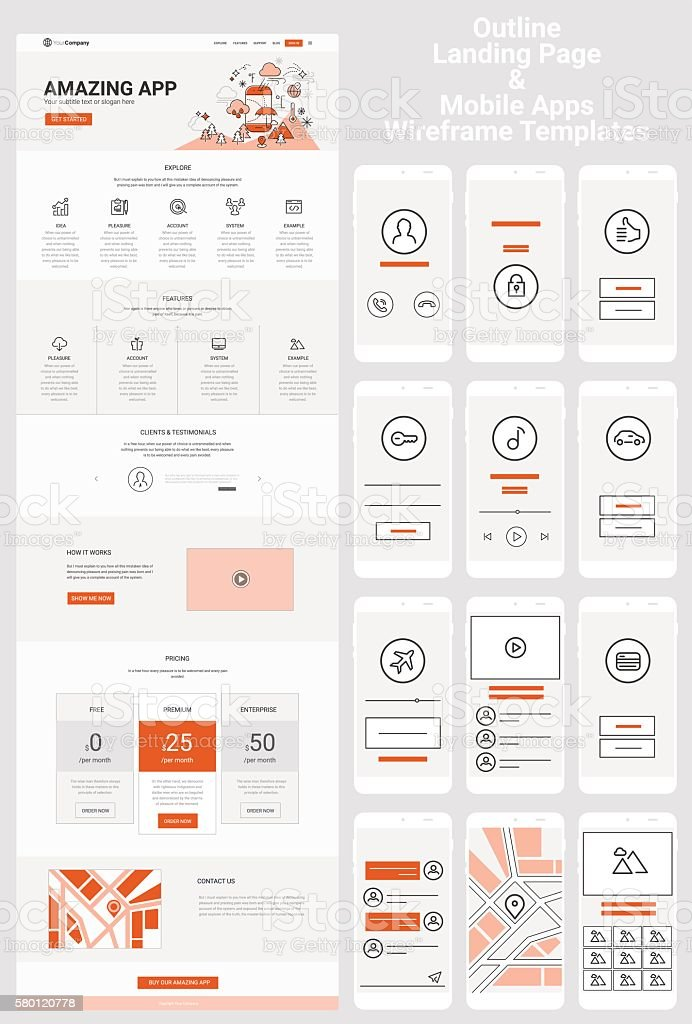 One Page Website and Mobile Apps Wireframe Kit vector art illustration