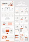 One Page Website and Mobile Apps Wireframe Kit
