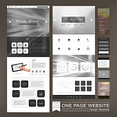 one page website design in blurred background