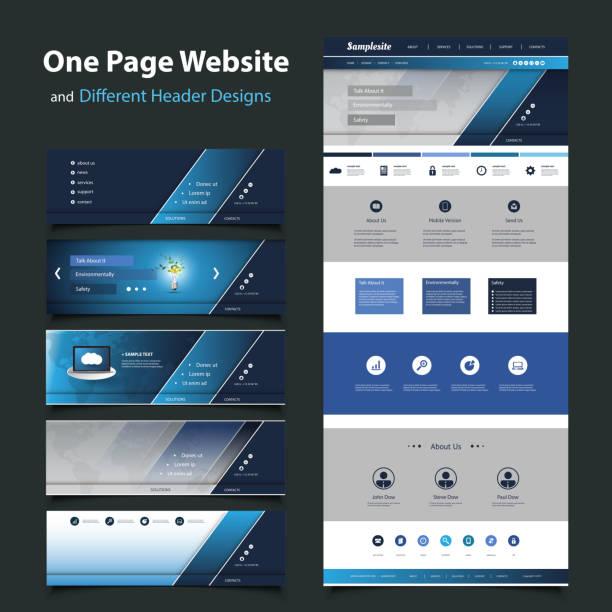 jedna strona internetowa szablon projektu i różnych nagłówków - strona startowa stock illustrations
