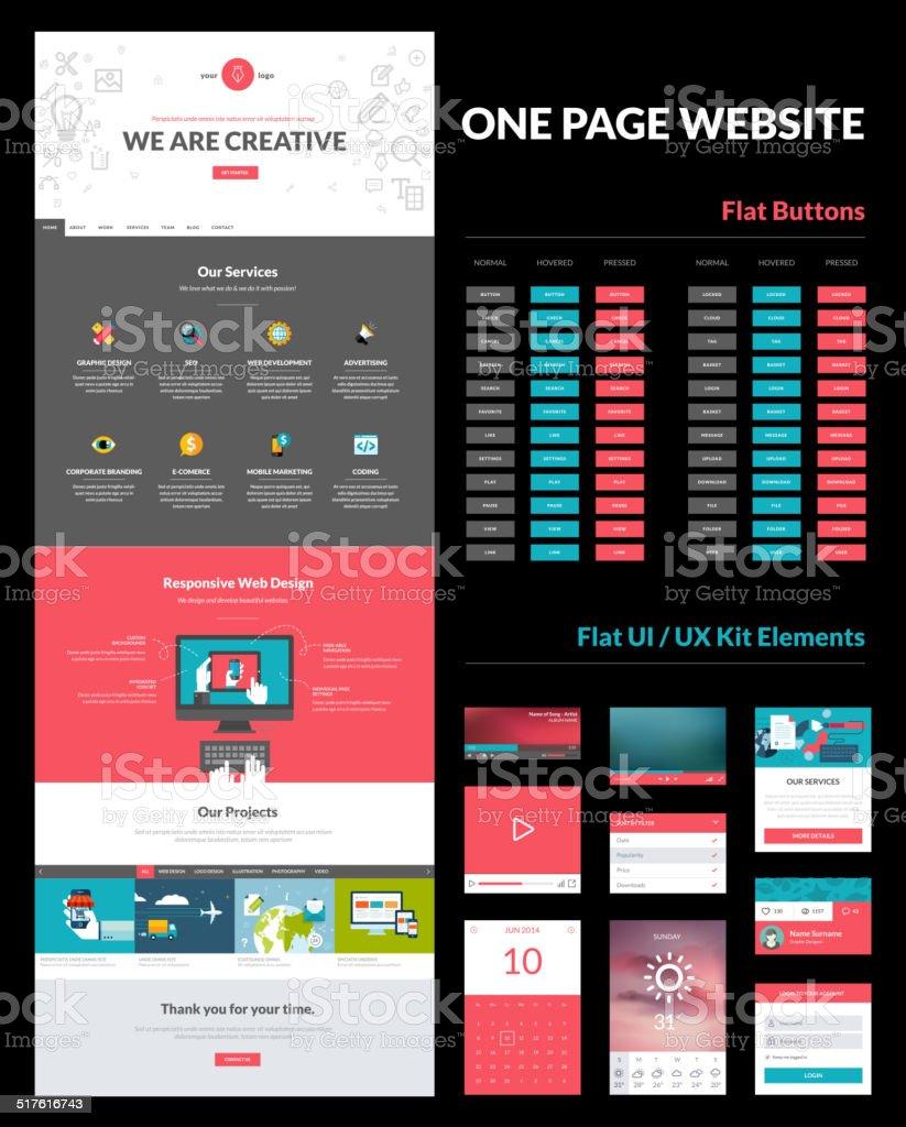 One page website design template vector art illustration